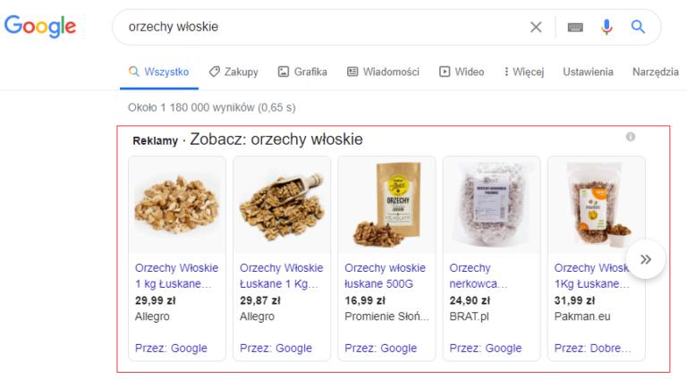 Reklama produktowa Google Allegro Ads. Orzeczy. Product Listing. PLA.