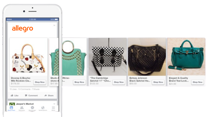 Facebook product feed ad. Reklama produktowa Facebook. Torebki. Allegro Ads nafb.