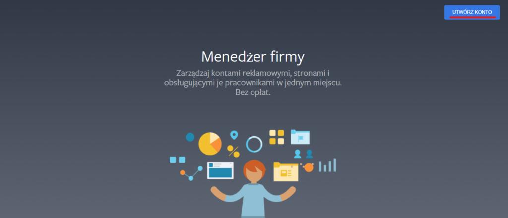 Ekran startowy menedżera firmy naFacebook