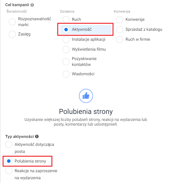 Ustalenie celu kampanii reklamy nafacebooku